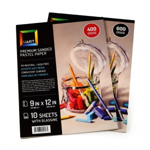 Uart Premium Sanded Pastel Paper Pad with Glassine: 9 x 12, Grade #600, Pack of 10 Sheets