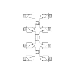 Paasche 8 Outlet Manifold with 1/4 Inch NPT Fittings - HFM-8-1/4