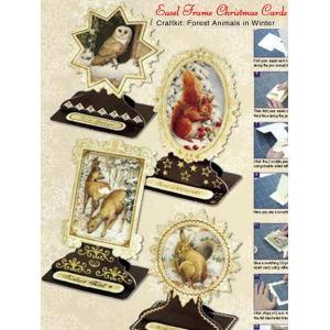 Christmas Easel Frame Card Kit (4)- Forest Animals In Winter