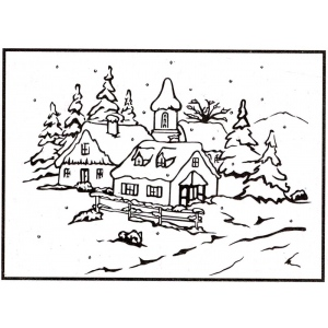 Picture Embossing Folder - peaceful village