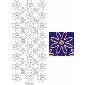 Deco Stickers - Daisies: Transparent Glitter Silver