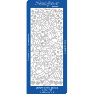 Deco Stickers - Doodle Design Roses: Silver