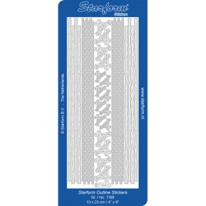 Deco Stickers - Oriental Bamboo Borders/Corners: Silver