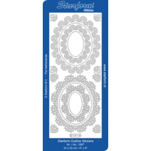 Deco Stickers - Floral Oval Frame: Silver