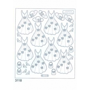 Deco Stickers - Dresses Lg.: Transparent Silver
