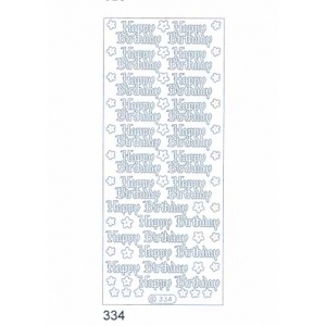 Deco Stickers - Happy Birthday: Transparent Glitter Silver