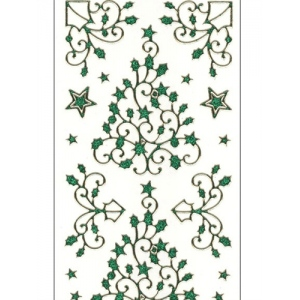 Deco Stickers - Holly Tree/Corner Flourish: Glitter Green
