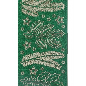 Deco Stickers - Pine/Holly Branches: Transparent Glitter Silver