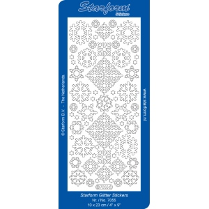 Deco Stickers - Snowflakes: Transparent Glitter Silver