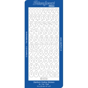 Deco Stickers - Numbers: Transparent Glitter Silver