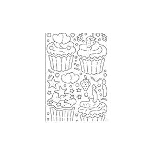 Deco Stickers - Lg 3D Cupcakes: Transparent Glitter Silver