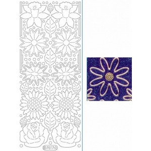 Deco Stickers - Flowers: Glitter Silver
