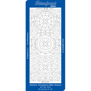 Deco Stickers - Glitter Medallion Shapes: Transparent Glitter Silver