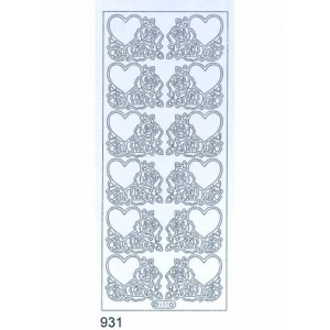 Deco Stickers - Hearts and Roses: Silver