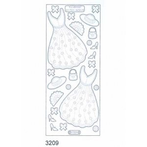 Stitch by Design Stickers - Dresses: Transparent Glitter Silver
