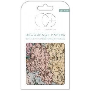 Creative Expressions World Map Decoupage Papers