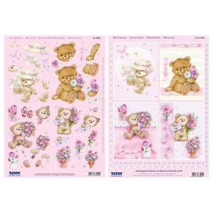 3D Precut - Teddy Bears with Flowers