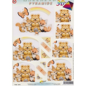3D Morehead Pyramid Die-cut Sheet baby animals with rainbow