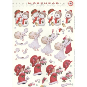 3D Precut Morehead Holiday Snowman couple, girl with kitten/stocking and girl with flower bouquet