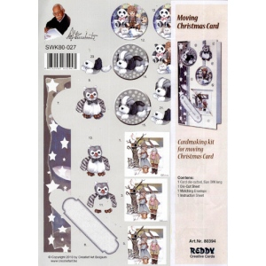 3D Precut Moving Christmas Card - Snow Scene, Winter Owl/Toy Box