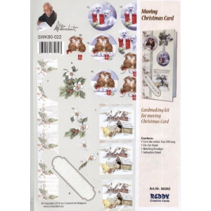 3D Precut Moving Christmas Card - Floral, Kittens/Puppies