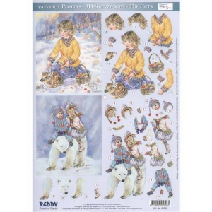 3D Paintbox Precut Winter Kids on Bear