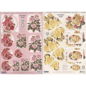 Pyramid Precut sheets - Roses Yellow/Red various shapes