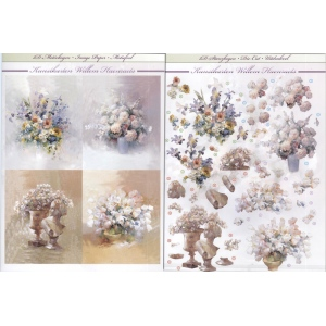 3D Precut, 2 sheets, Size A4 4 Flower pictures