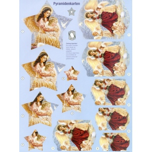 3D Precut - Pretty Angels with Little Animals - 2 sheets