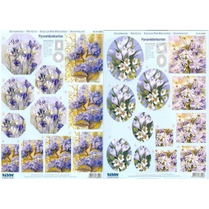3D Precut - Purple and White Flowers - 2 sheets