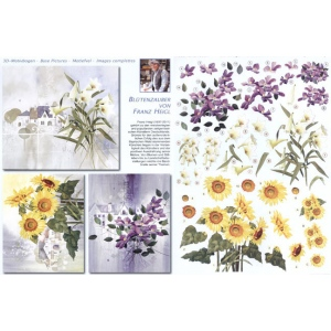 Reddy 3D Precut (2 Sheets)franz Heigl Lily Bouquet, Sunflowers, Clematis