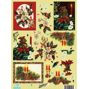 Metallic Pre-cut 3D Sheet - Christmas Florals and Candles