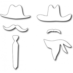 Frantic Stamper  Precision Die - American Dads Hats & Mustaches (set Of 6 Dies)