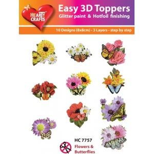 Hearty Crafts Easy3D Precut Toppers - Flowers & Butterflies