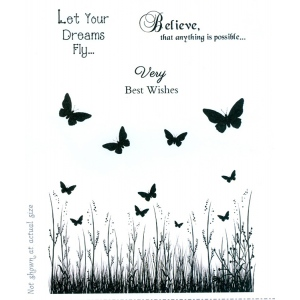 Sentimentally Yours Clear Stamp - Butterfly Field