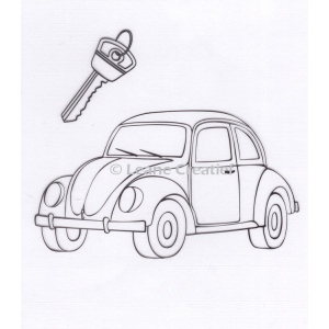 Leane Creatief - Doodle Clear Stamp Car / Beetle