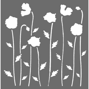 Creative Expressions Mask - Poppies 6 x 6 stencil