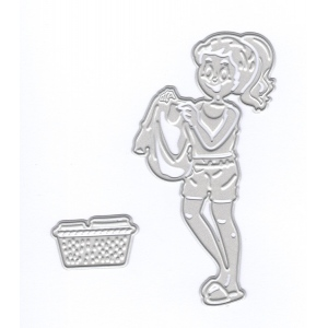 Ecstasy Crafts Joy Crafts Cut/emboss/deboss Die -3D Woman With Laundry Basket