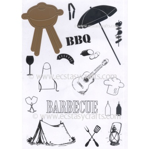 Ecstasy Crafts Joy! Crafts Cutting Die/clear Stamp Set - Barbecue