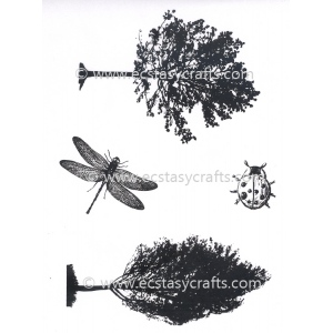 Joy Crafts Clear Stamp - Trees, ladybird, dragonfly
