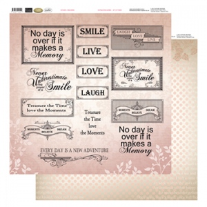 Couture Creations 12X12 Patterned Paper  - Pink Words - Vintage Rose Collection (5)