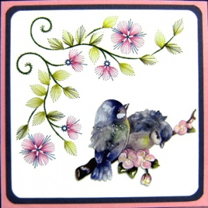 KC Embroidery Pattern - Corner Vine & Flowers