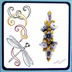 KC Embroidery Pattern - Side Flourish & Dragon Fly