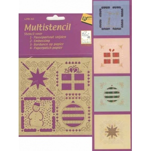 Ecstasy Crafts Embroidery Multi Stencil Christmas