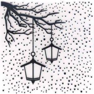 Embossing Folder - Snowy Scene With Lanterns