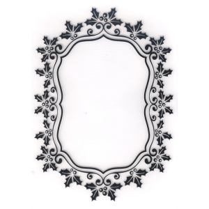 Embossing Folder -Christmas Oval Holly Frame