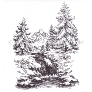 Clear Stamp - Winter Time - Winter Waterfall