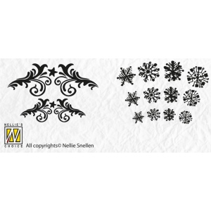 Nellie's Choice Precision Stamps - Christmas - Flowerswirl- Snowflake