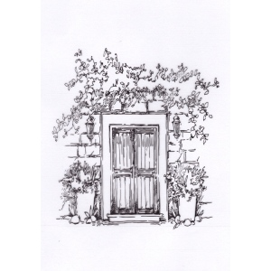 "Clear Stamps ""Door with flowerpots"""