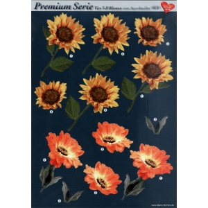 3D Premiumserie, 6 pcs Flowers 08 Cutting Sheets